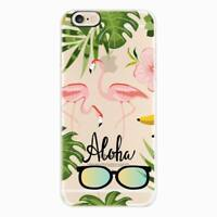 Clear Flamingo Pattern Soft TPU Silicone Back Case Cover For iPhone 8 7 6s Plus