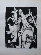 GUY-MAX HIRI (1928-1999) COMPOSITION AU CHEVALIER ENCRE DE CHINE / PAPIER 1960 1