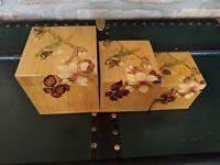 Scatole Cinesi Antiche in Bambù decorate a mano e laccate
