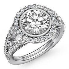 Halo Pave Set Round Diamond GIA I Color VS2 18k White Gold Engagement Ring 2.3ct