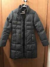 LARRY LEVINE WOMANS GRAY LONG DOWN FILLED JACKET SIZE S—BEAUTIFUL—