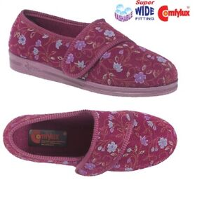 COMFYLUX Ladies Super Wide EEEE Fit Washable Slippers  Blue Red Size 3 4 5 6 7 8