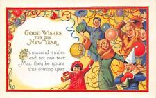 """""""Good Wishes For The New Year"""" Party Scene Balloons Embossed Postcard ca 1920s"""