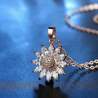 Charm Women Sun Flower Zircon Pendant Necklace Clavicle Chain Lady Jewelry Gifts