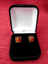 PAIR OF BOXED STAMPED.925 STERLING SILVER 8mm SQUARE BALTIC AMBER STUD EAR RINGS
