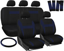 Car Seat Covers Blue Black 17pc Set for Auto w/Steering Wheel/Belt Pad/Head Rest