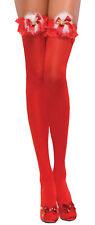 Coquette Red Xmas/Christmas Thigh High Stockings W/Marabou Jingle Bells O/S