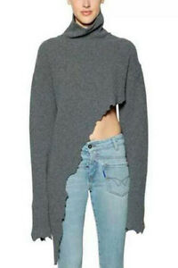 Solid Grey Fashionable Irregular Trim High Neck Knitting Sweater