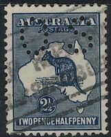 2 1/2d blue Kangaroo 3rd Wmk small os Australia ROO sg O44