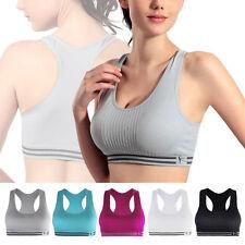 UK Womens Yoga Sports Running Bra Crop Top Vest Stretch Bras Shapewear Padded
