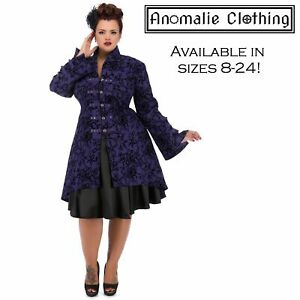Hearts and Roses Purple Flocked Tattoo Coat - Rockabilly Victorian Gothic Punk