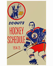 Kansas City Scouts 1974-75 Pocket Schedule Art Poster, 8x10 Color Photo