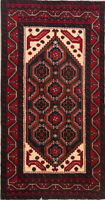 One-of-a-Kind Geometric Tribal 6' Runner Afghan Oriental Hand-Knotted 3'x6' Rug