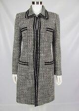 Tahari Arthur S Levine ASL 6 Black Gray Boucle Wool Blend Long Dress Jacket Coat