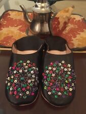 Authentic Handmade Moroccan Leather Slippers Shoes Babouches Sz 10 Sequin NEW