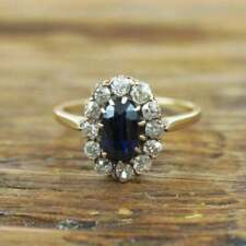 1.75 Ct Blue Sapphire & Diamond Halo Cluster Engagement Ring 14k Yellow Gold GP