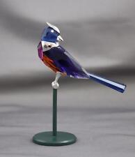Swarovski Crystal Benua Dark Sapphire Bird Figurine Sterling Silver Orange Blue