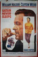 1 Vintage One Sheet Movie Poster for Satan Never Sleeps, 1962, William Holden