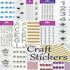 CRAFT STICKERS PEARLS DIAMONDS HEARTS NUMBERS WEDDING DECORATIONS Embellishments