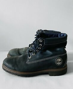 Timberland Men's Roll-Top D475 188 Boots Size UK 12W Blue Leather Suede