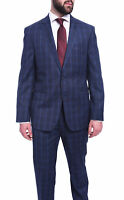 Mens 42R Dkny Slim Fit Navy Blue Plaid Two Button Wool Suit