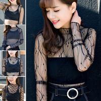 Women Lace Sheer Mesh Long Sleeve Tee Tops Shirt Blouse See-through Black NEW