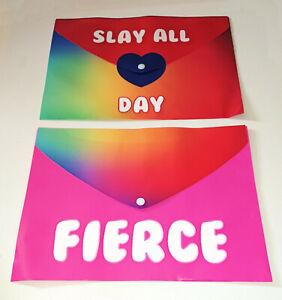 Pair A4 SASSY DOCUMENT WALLETS Rainbow Fade PRESS STUD Pink Fierce SLAY ALL DAY