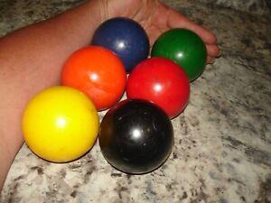 "6 Sportcraft  Croquet Balls used multi color lot 8  1/2"" around bin 827"