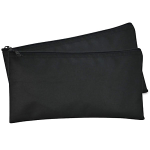 DALIX Bank Bags Money Pouch Securit Deposit Utility Zipper Coin Bag Black 2 Pack
