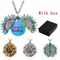 "Fashion ""You Are My Sunshine"" Sunflower Pendant Necklace Women Choker Chain Gift"