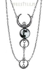 RESTYLE FULL MOON CRESCENT PENDANT OCCULT SCARY EMO GOTH CHARM SILVER NECKLACE