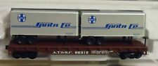 N scale Atlas Flat with 2 -  24' Trailers  Santa Fe   -  37453