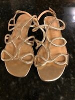 Anthropologie Vicenza Leather Gold Sandals Size 8, New!