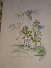 Germaine BOURET 1907-1953 RARE Gravure ENFANTS FILLE GARÇON COURSE HIPPIQUE 1929