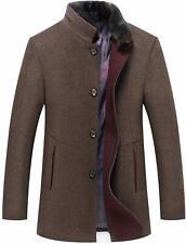 Men's Thicken Detachable Faux Fur Collar Single Breasted Woolen Pea Coat Jacket