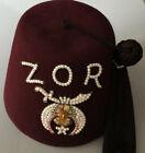 Vintage ZOR Shriner Fez Hat Jeweled Rhinestones W/ Tassel & Box Sz 7 3/8-1/2
