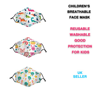 Kid's Reusable Cotton Face Mask with valve - Good Protection for Kids