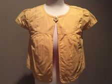 Ann Taylor LOFT Yellow One Button Short Sleeve Cropped Jacket Size S