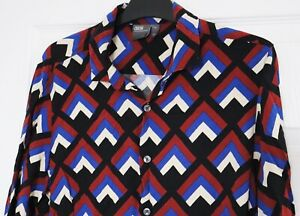 ASOS Men's Shirt (Size Medium M) Retro Vintage Design Black / Red / Blue / White