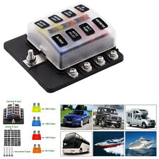 8-Way Fuse Box Blade Fuse Holder LED Indicator Waterproof Cover For Car Marine
