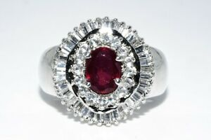 4.51CT NATURAL AFRICAN RUBY & WHITE TOPAZ COCKTAIL SILVER RING SIZE 8.25