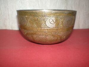 Handmade bronze cup/bowl with Arabic ornaments from the 19th century - Nielo