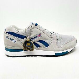 Reebok GL 6000 Gray Blue Reserve Retro Mens Suede Sneakers V59445
