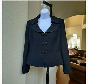 Kasper Black Beaded Blazer Size 8p