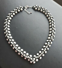 """PEARL bead NECKLACE WHITE GLASS black seed montee 16"""" GIFT regal design strand"""