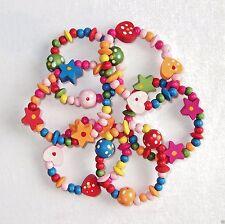 12 x Pretty Girls Wooden Bead Bracelets Party Bag Fillers Heart Stars