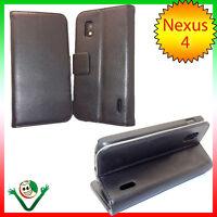 Custodia BOOK eco pelle per LG Google Nexus 4 E960 martellata NERA stand case