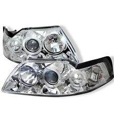 Projector Head Lights Lamps 1PC Ford Mustang 1999-2004 HALO - Chrome