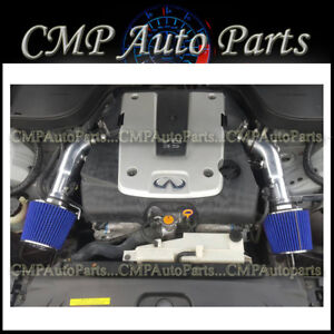 BLACK BLUE FIT 2007 2008 INFINITI G35 3.5 3.5L SEDAN DUAL/TWIN AIR INTAKE KIT