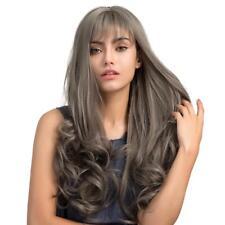 Perruque Femmes Long Bouclé Gris+Frange en Cheveux Synthétique Elégante